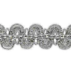 E6964 Silver Eva Faux Rhinestone Metallic Braid Trim 1 1/8""