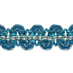 "E6964 Turquoise Silver Eva Faux Rhinestone Metallic Braid Trim 1 1/8"""