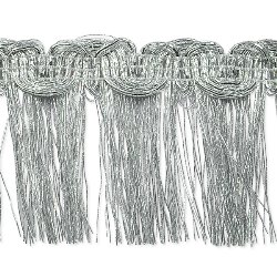 E6975 Silver Metallic Braid Fringe Trim 1.5""