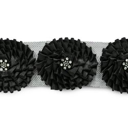 E6979 Black Daleah Flower Trim with Rhinestones 3""