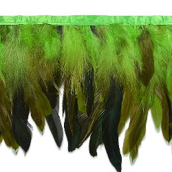 E6983 Green Fionna Feather Fringe Trim 6""