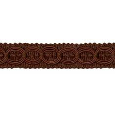 E4437 Chocolate Brown Woven Braid Circle Gimp Sewing Upholstery Trim 3/4""
