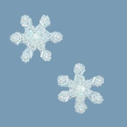 E774 Snowflake Appliques (Set of 2) Crystal AB Sequin Beaded  1.5&quot;