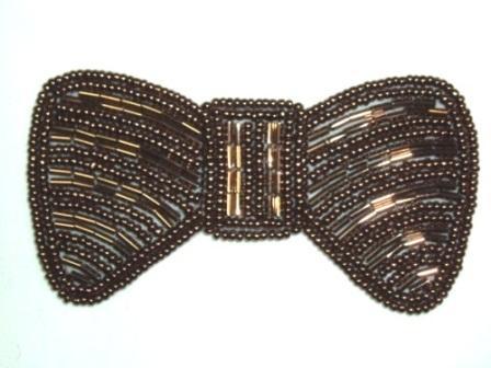 HB12  Bronze Bow Beaded Hair bow