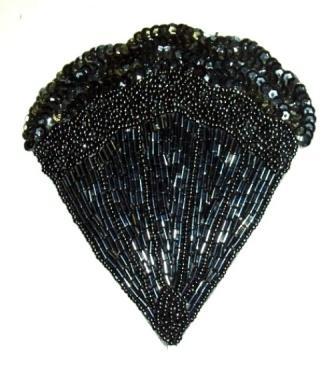 "K8246  Black Victorian Fan Sequin Beaded Applique 4.75"""