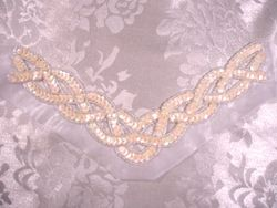K8248  Ivory Cream Braided Collar Sequin Beaded Applique 8.75""