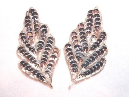 """K8269  Silver Leaf Pair Sequin Beaded Appliques  3.25"""""""