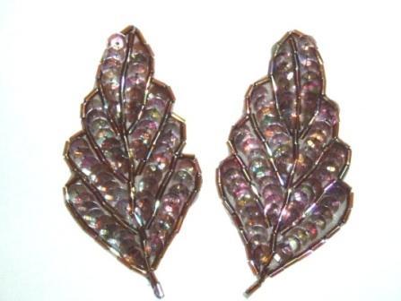 """K8269  Bronze AB Leaf Pair Sequin Beaded Appliques  3.25"""""""