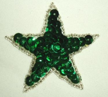 K8272  Kelly Green Star Sequin Silver Beaded Applique 2.5""
