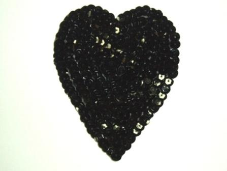 K8395   Black Heart  Sequin Applique 3.5""