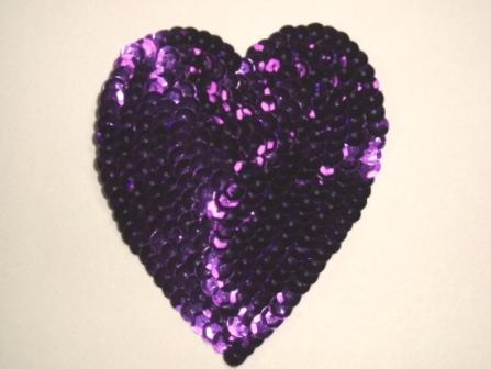 K8395   Purple Heart  Sequin Applique 3.5""