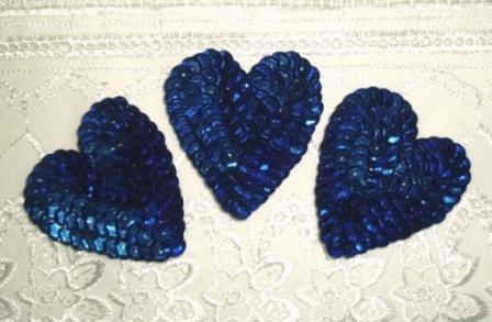 K8395A  Set of 3 Blue Heart  Sequin Applique 2""