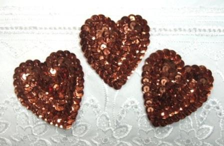 K8395A  Set of 3 Bronze Heart  Sequin Applique 2""
