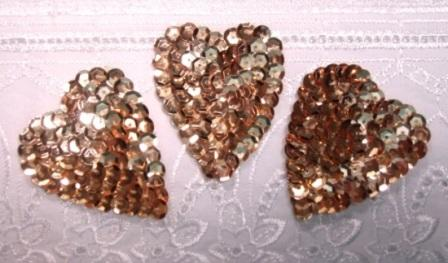 K8395A  Set of 3 Gold Heart  Sequin Applique 2""