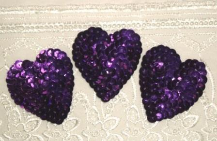 K8395A  Set of 3 Purple Heart  Sequin Applique 2""