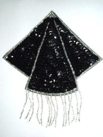 "K8401  Black Silver Triangle Epaulet Sequin Beaded Applique  5.25"""
