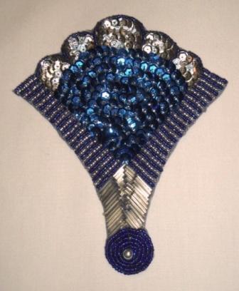 """K8618  Blue & Silver Fan Epaulet Sequin Beaded Applique 5.75"""""""
