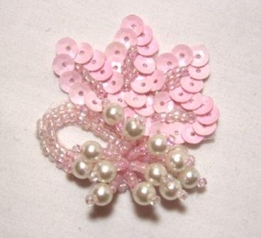 T8634 REDUCED Pink Pearl Dangle Sequin Beaded Applique 2""