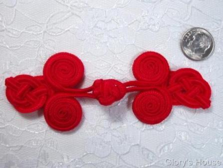 0251  Red Triple Swirl Frog Button Closure 4""