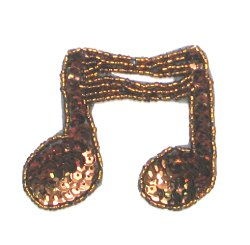E722 Bronze Double Note Sequin Applique 3&quot;