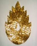 """K8899 Gold Flame Beaded Applique  4.5"""""""