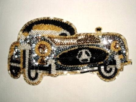 K8906  Mercedes Coupe Car Sequin Beaded Applique 7.25""