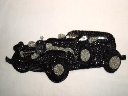 K8907  Duesenberg Car Sequin Beaded Applique 10.5""