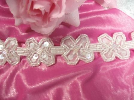 T8918 Crystal X Sequin Beaded Applique or Trim 1.5""