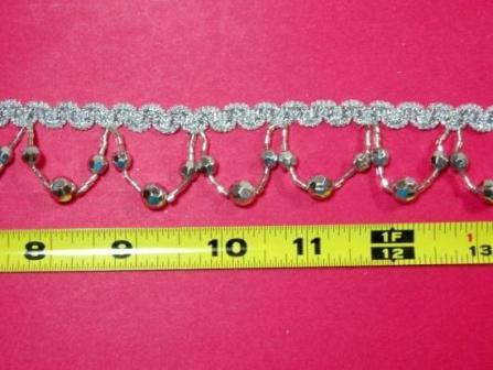 T8927  Silver Beaded Fringe Sewing Trim 1.25""