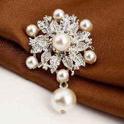 GB209 Bridal Rhinestone Brooch Pin Silver Crystal Pearl Dangle Glass 2""