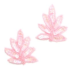 E913 (Set of 2) Rose Pink Leaf Sequin Beaded Appliques 2&quot;
