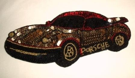 K9256  Porsche Car Sequin Beaded Applique 9.5""