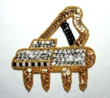 "K9279  Gold Piano Sequin Beaded Applique 4.25"""
