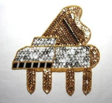"K9281  Gold Piano Sequin Beaded Applique 7.25"""