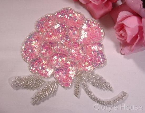 "RM0081 REDUCED Elegant Pink Rose Floral 6"" Sequin Beaded Applique"