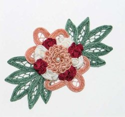 E3640 Mauve Burgundy Floral Applique Bouquet 6""