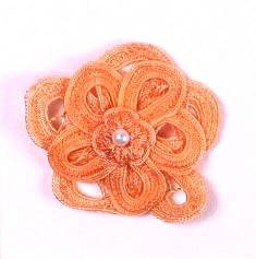 E5552 Peach Double Floral Bouquet Applique 2.5""