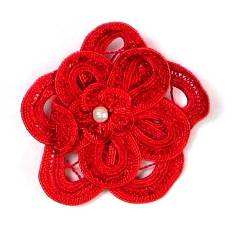 E5552 Red Double Floral Bouquet Applique 2.5""