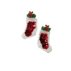 "E981 Christmas Stockings Mirror Pair Sequin Beaded Applique 1.5"""