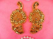 """Sequin Beaded Appliques Gold Mirror Pair Flower Clothing Patch 3.5"""" (A0049AX-gl)"""
