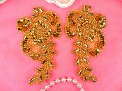 """Sequin Beaded Appliques Gold Mirror Pair Flower Clothing Patch 4"""" (A0049BX-gl)"""