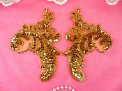 """Sequin Beaded Appliques Gold Mirror Pair Leaf Clothing Patch 5.5"""" (A0049CX-gl)"""