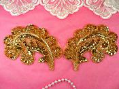 """Sequin Beaded Appliques Gold Mirror Pair Leaf Clothing Patch 5"""" (A0049DX-gl)"""
