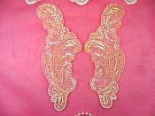 """Appliques Mirror Pair Sequin Beaded Light Pink Crystal 8.5"""" (A0193X-pkcab)"""