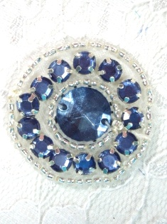 ACT/0379  Denim Blue & Silver  Round Beaded Applique 1.25""
