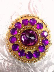 ACT/0379 Applique Mulberry Rhinestone Round Gold Beaded 1.25""