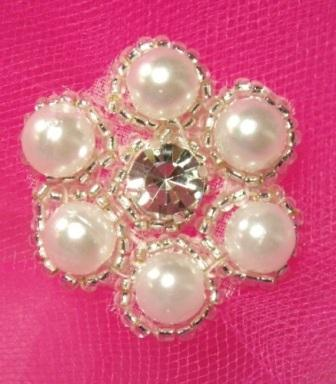 A0428A Rhinestone & Pearl Silver Beaded Applique 1-3/8&quot;
