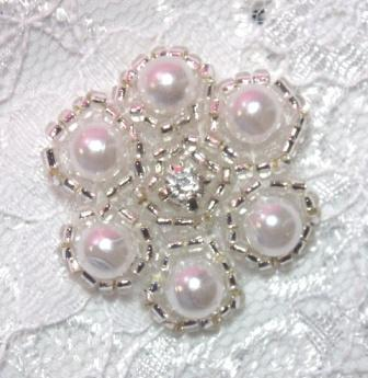 A0428B Rhinestone & Pearl Silver Beaded Applique 1-1/8&quot;