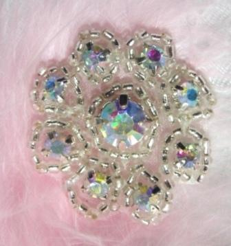A0429A  Crystal AB Rhinestone Floral Silver Beaded Applique 1-3/8&quot;