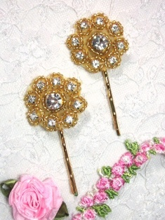 A0429E Set of Two Crystal Flower Rhinestone Hair Pins   3 colors